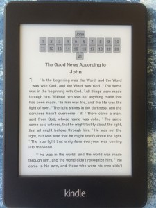 Holy Bible on a Kindle