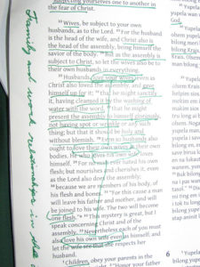Marked up Bible page