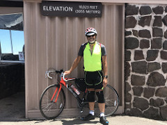 Michael with Bicycle on Mount Haleakala